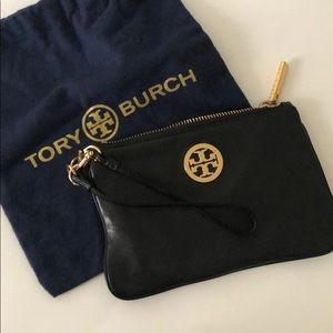 Tory Burch Black & Gold Wristlet with Dust Pouch